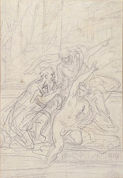 Susanna and the Elders (recto); Architectural design and other scribbles (verso) MET 2005.117a, b.jpg