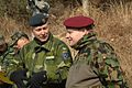 Swedish air force Maj. Alf Norback (left) and Swiss air force Capt. Frank Baumann, both from the Neutral Nations Supervisory Commission, observe a Joint Casualty Evacuation Exercise, March 5, 2008.jpg