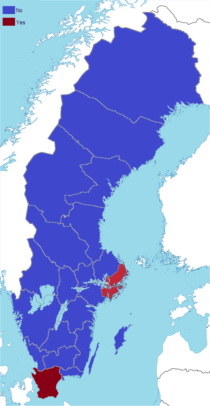 Swedish euro referendum results by county 2003