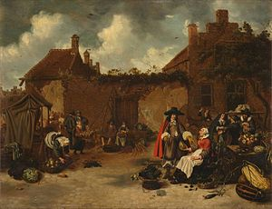 Sybrand van Beest - A vegetable and fruit market, 1652
