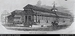 Queen Victoria Building - Wood-engraving of former Sydney Markets (1850)