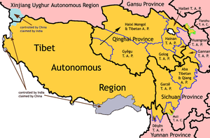 Orange designates regions that have Tibetan population, hence contain the unrest areas