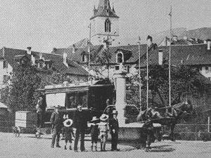 Trams in Biel/Bienne - The horsecar tramway, 1890s.