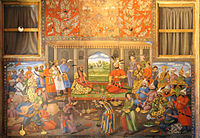 Mural painting of a meeting between Shah Tahmasp and the Mughal emperor Humayun at the Chehel Sutun Palace, found in Isfahan, Iran