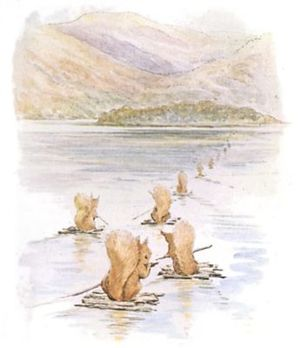 """Seven squirrels crossing the lake on rafts."""