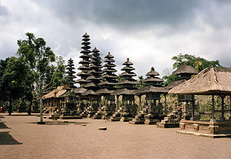 Meru tower - A number of meru towers in different tiers height at Pura Taman Ayun, Bali.