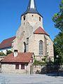 Tamm-Ansicht von Südosten mit Kirche (Kirchturm mit Turmchor) über Kirchhofmauer-11062006.jpg