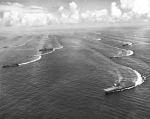 Fast Carrier Task Force - As Task Force 38, the carriers maneuver off the Japanese coast, 17 August 1945.