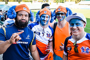 Greater Sydney Rams - Tatafu Polota-Nau with Greater Sydney 'Horned Army' Fans in 2014.
