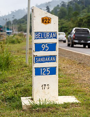 Pan-Borneo Highway - Milestone of Malaysia Federal Route 22 at Telupid in Sabah.