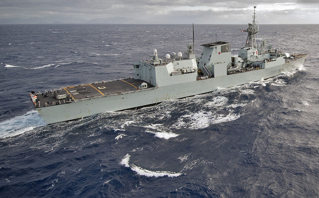 The Canadian patrol frigate HMCS Regina (FFH334) navigates off the coast of Hawaii March 4, 2013, prior to a scheduled port visit to Joint Base Pearl Harbor-Hickam in Hawaii 130304-N-WF272-048.jpg