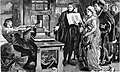 The Caxton Celebration - William Caxton showing specimens of his printing to King Edward IV and his Queen.jpg