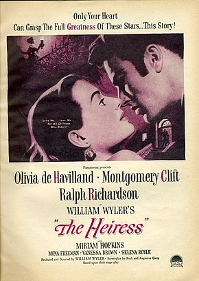 Description de l'image  The Heiress (1949) poster.jpg.