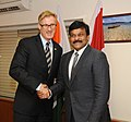The Minister of State (Independent Charge) for Tourism, Dr. K. Chiranjeevi at a bilateral meeting with the Minister for Tourism, Canada, Mr. Maxime Bernier, in New Delhi on February 26, 2013.jpg