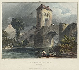 Monnow Bridge - The bridge and gatehouse in 1818, drawn by Copley Fielding