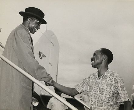 Malawi's first Prime Minister and later the first President, Hastings Banda (left), with Tanzania's President Julius Nyerere The National Archives UK - CO 1069-165-9.jpg