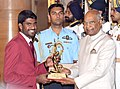 The President, Shri Ram Nath Kovind presenting the Arjuna Award, 2018 to Naib Subedar Jinson Johnson for Athletics, in a glittering ceremony, at Rashtrapati Bhavan, in in New Delhi on September 25, 2018.JPG