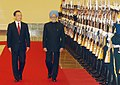 The Prime Minister, Dr. Manmohan Singh with the Chinese Premier, Mr. Wen Jiabao inspecting the Guard of Honour, during the Welcome Ceremony in Great Hall of People, Beijing in China on January 14, 2008.jpg