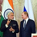The Prime Minister, Shri Narendra Modi and the President of Russian Federation, Mr. Vladimir Putin at the joint media briefing, in Moscow, Russia on December 24, 2015.jpg