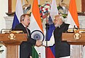 The Prime Minister, Shri Narendra Modi and the President of the Russian Federation, Mr. Vladimir Putin at the joint press statements, in New Delhi on December 11, 2014 (1).jpg