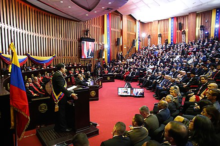 Maduro was inaugurated for a contested and controversial second term on 10 January 2019. The TSJ chamber at Maduro 2019 inauguration.jpg