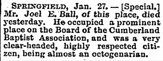 Bell Witch - Nashville Obituary for Joel Egbert Bell (1813-1890). Bell was the youngest and last surviving child of John and Lucy Bell Sr.