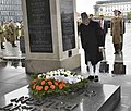 The Vice President, Shri M. Hamid Ansari paying homage at the Tomb of the Unknown Soldier, at the Central Arcade, Saxon Palace, in Warsaw, Poland on April 27, 2017.jpg
