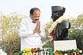 The Vice President, Shri M. Venkaiah Naidu offering tributes at the statue of Mahamana Pandit Madan Mohan Malaviya, during his visit to the Malaviya National Institute of Technology, in Jaipur on January 06, 2018.jpg