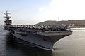 The aircraft carrier USS Ronald Reagan (CVN 76) and embarked Carrier Air Wing 14 cross San Diego Harbor while returning to its homeport at Naval Air Station North Island, Calif., April 7, 2008, after 080407-N-HX866-001.jpg