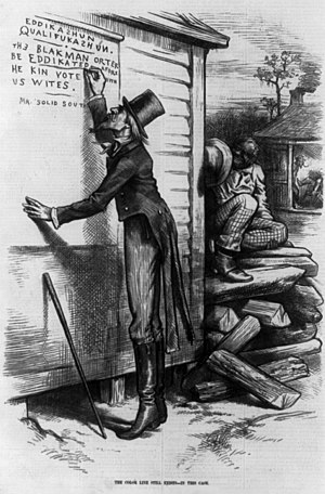 "Literacy test - Editorial cartoon from the January 18, 1879, issue of Harper's Weekly criticizing the use of literacy tests. It shows ""Mr. Solid South"" writing on wall, ""Eddikashun qualifukashun. The Blak man orter be eddikated afore he kin vote with us Wites, signed Mr. Solid South."""