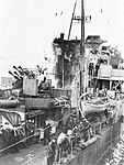 The funnel and bridge area of the destroyer HMS Onslow (6105339207).jpg
