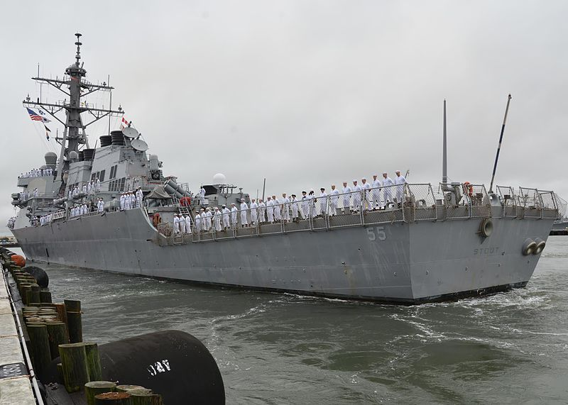 File:The guided missile destroyer USS Stout (DDG 55) departs Naval Station Norfolk, Va., Aug. 18, 2013, for deployment to the U.S. 6th Fleet area of responsibility 130818-N-WJ261-068.jpg