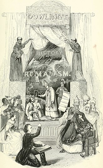 Romanism - Drawing depicting Pastor John Dowling authoring his book The History of Romanism.