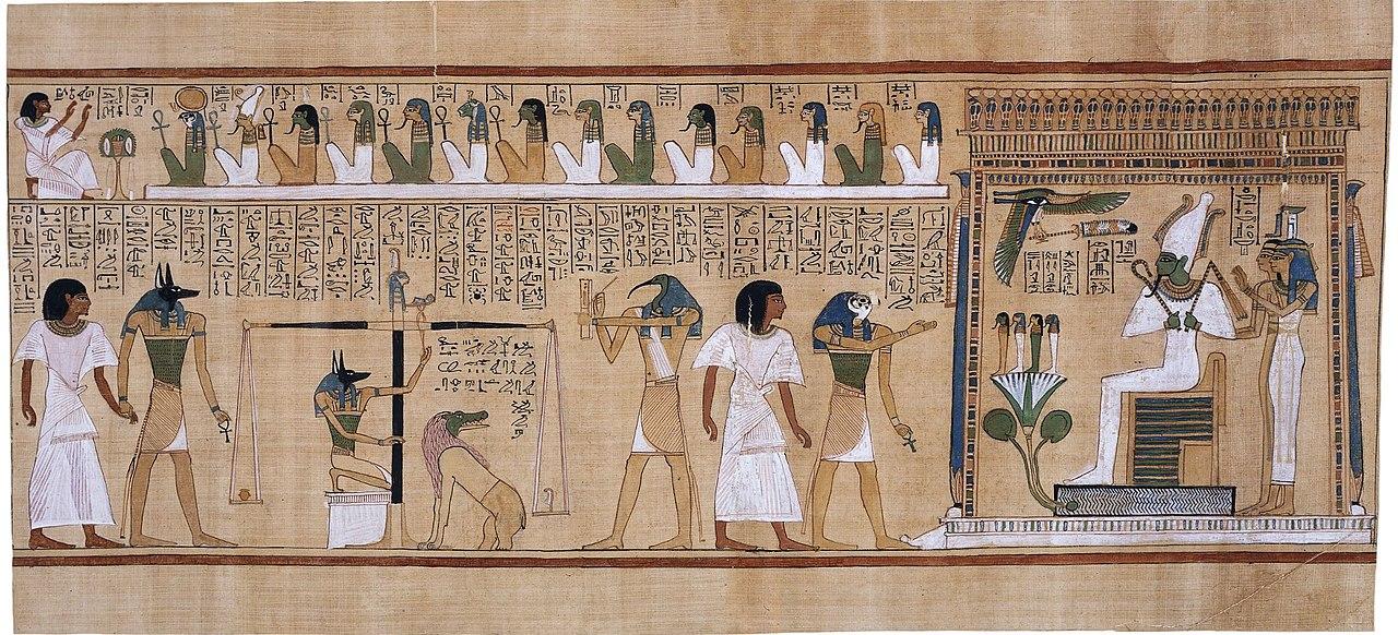 Esta escena narrativa del Libro de los Muertos ilustra el ritual del pesaje del corazón, la versión egipcia del Juicio final