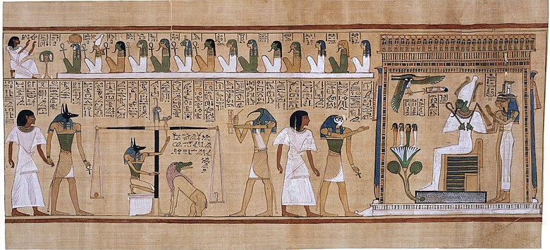 The weighing of the heart scene from the Book of the Dead. The judgement of the dead in the presence of Osiris.jpg
