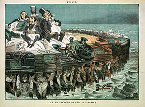 "Robber baron (industrialist) - ""The protectors of our industries"". Cartoon showing Cyrus Field, Jay Gould, Cornelius Vanderbilt, and Russell Sage, seated on bags of ""millions"", on large heavy raft being carried by workers."
