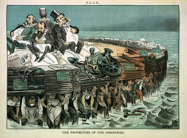 """The protectors of our industries"". Cartoon showing Cyrus Field, Jay Gould, Cornelius Vanderbilt, and Russell Sage, seated on bags of ""millions"", on large heavy raft being carried by workers. The protectors of our industries.jpg"