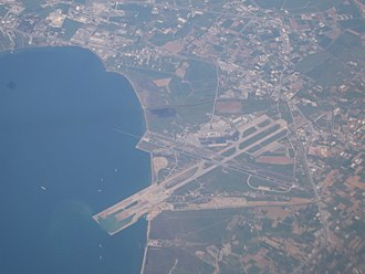 "Thessaloniki International Airport ""Macedonia"" - Aerial view of the airport, showing the progress of the runway extension works."