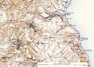 Al-Majdal, Tiberias - A map of the Tiberias region indicating the location of Al-Majdal published in 1880 by the Palestine Exploration Fund