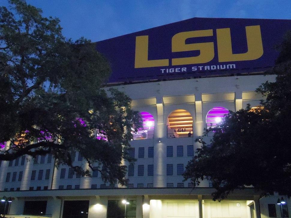 Tiger Stadium back of north scoreboard close-up at LSU in Baton Rouge, LA at night