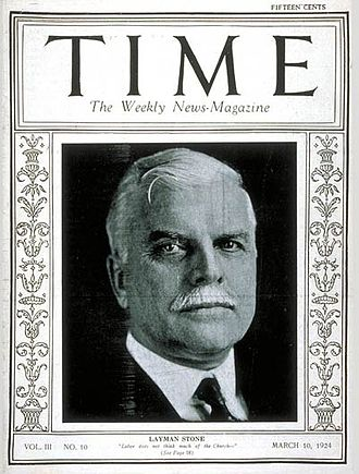 Brotherhood of Locomotive Engineers and Trainmen - Time Magazine cover from 10 March 1924 featuring Warren Stanford Stone