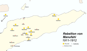 East Timorese rebellion of 1911–12 - Map of the revolt of 1911–12: flames indicate centres of rebellion, crossed swords indicate battles, red dots villages.