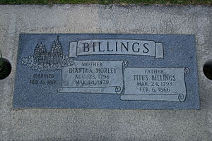 Titus Billings - Billings' grave in Provo, Utah