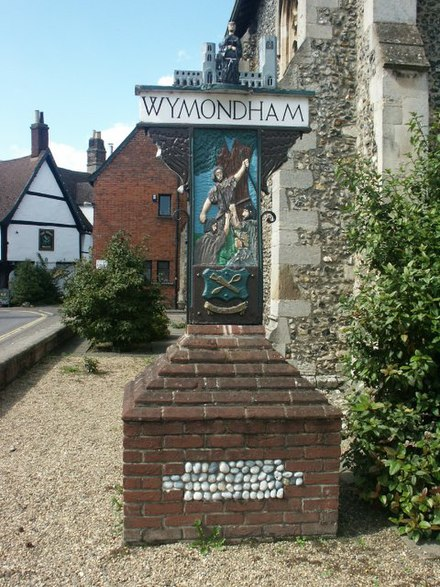 Kett's Rebellion is remembered on Wymondham's town sign Town sign, Wymondham - geograph.org.uk - 45277.jpg