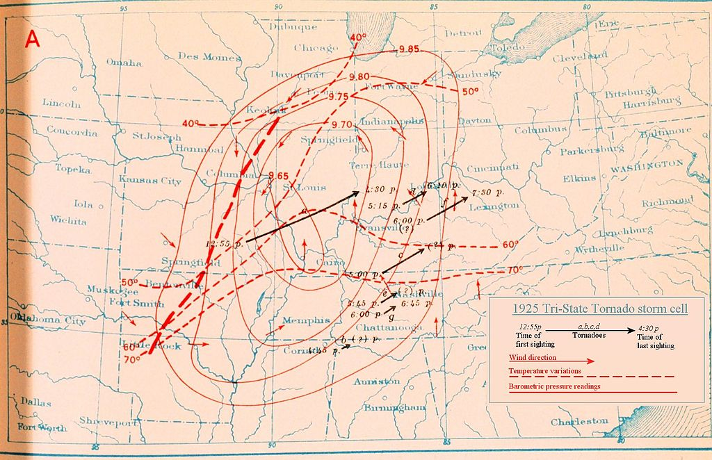 the tri state tornado one of the Tri-state tornado in 1927, it was reported that the storm crossed illinois at the rate of 45 mph and that the width of the destructive path varied from a 1/4 to 1/2.