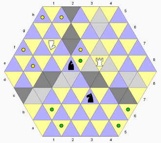 Triangular Chess - The rook moves along cells in the diagram colored light gray; the bishop along cells colored dark gray; the black knight can move to green dots, or capture the rook; the white unicorn can move to yellow dots, or capture the bishop.