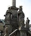 Trutnov (okr. Trutnov), sloup se sousoším Nejsvětější Trojice, detail soch u podstavce, Jan Nepomucký.JPG
