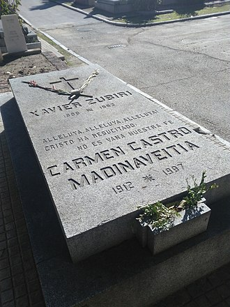 Xavier Zubiri - Image: Tumba de Xavier Zubiri y Carmen Castro Madinaveitia, cementerio civil de Madrid
