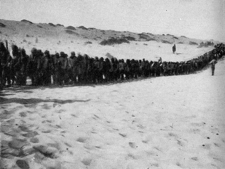 Turkish prisoners on the road to El Arish from Rafa in 1917