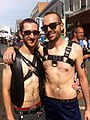 Two men in leather an Folsom Street Fair 2012.jpg